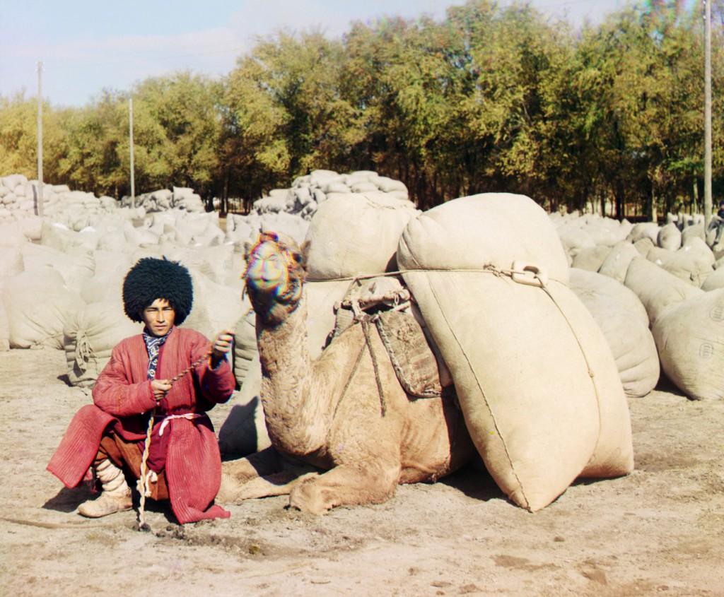 Old photo of Turkmen with Camel, Turkmenistan